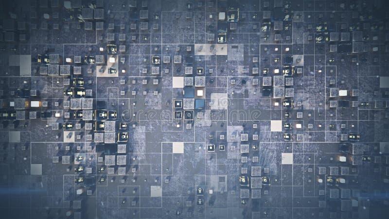 Φουτουριστικός τοίχος με χαοτική απόδοση κύβων 3D ελεύθερη απεικόνιση δικαιώματος