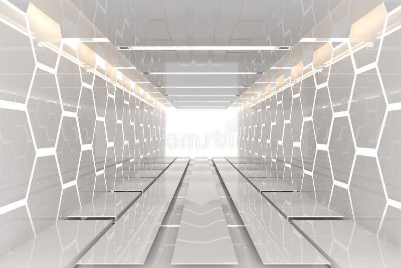 Φουτουριστικό άσπρο hexagon δωμάτιο διανυσματική απεικόνιση