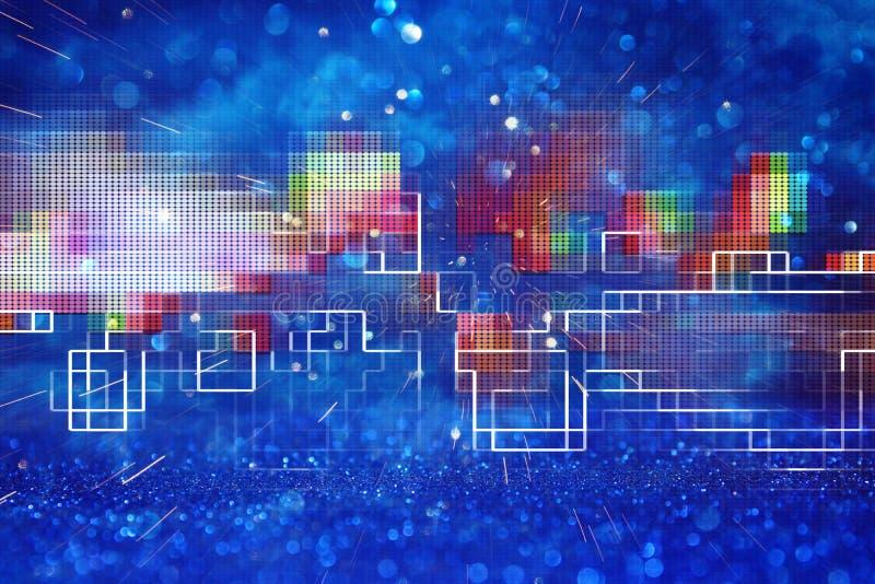 Φουτουριστικό αναδρομικό υπόβαθρο του αναδρομικού ύφους 80 ` s Ψηφιακή ή επιφάνεια Cyber φω'τα νέου και γεωμετρικό σχέδιο στοκ εικόνα με δικαίωμα ελεύθερης χρήσης