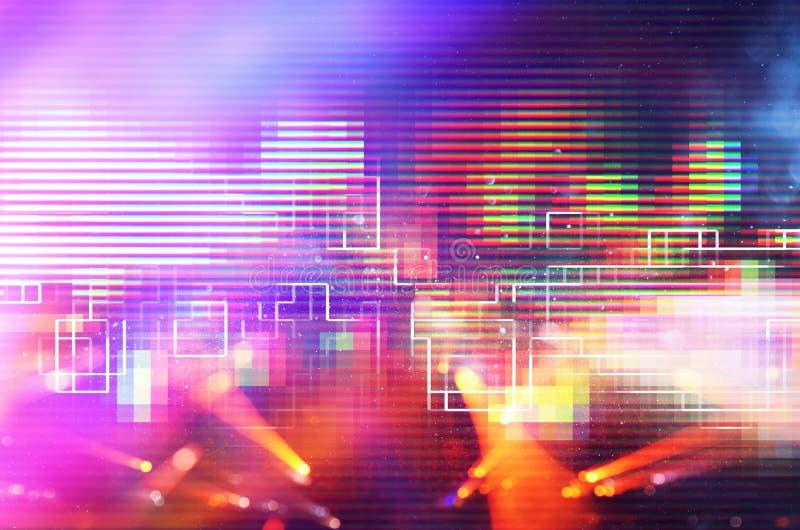 Φουτουριστικό αναδρομικό υπόβαθρο του αναδρομικού ύφους 80 ` s Ψηφιακή ή επιφάνεια Cyber φω'τα νέου και γεωμετρικό σχέδιο στοκ εικόνες