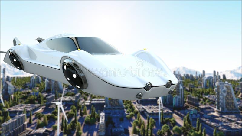 Φουτουριστικό αυτοκίνητο που πετά πέρα από την πόλη, κωμόπολη Μεταφορά του μέλλοντος εναέρια όψη τρισδιάστατη απόδοση απεικόνιση αποθεμάτων
