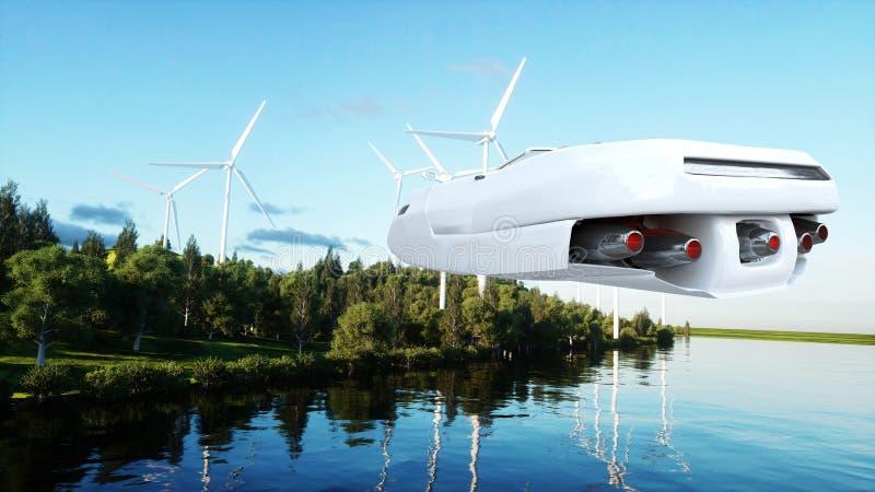 Φουτουριστικό αυτοκίνητο που πετά πέρα από την πόλη, τοπίο Μεταφορά του μέλλοντος εναέρια όψη τρισδιάστατη απόδοση ελεύθερη απεικόνιση δικαιώματος