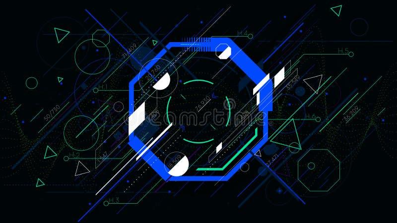 Φουτουριστικό αφηρημένο ζωηρόχρωμο octahedron τεχνολογίας, διανυσματικά γεωμετρικά υπόβαθρα sci-Fi απεικόνιση αποθεμάτων