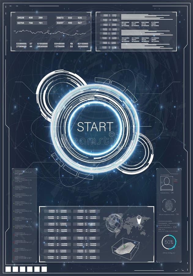 Φουτουριστικό διανυσματικό σχέδιο οθόνης διεπαφών hud Τηλεοπτικός ανταγωνισμός παιχνιδιών Τηλεοπτικά παιχνίδια απεικόνιση αποθεμάτων