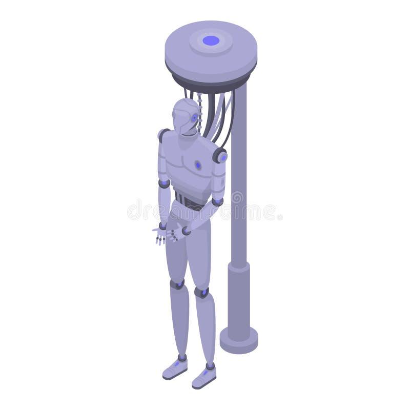 Φουτουριστικό εικονίδιο ρομπότ, isometric ύφος διανυσματική απεικόνιση