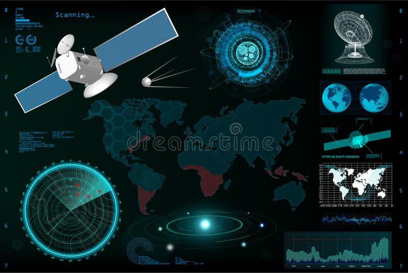 Φουτουριστικό ενδιάμεσο με τον χρήστη, πρότυπο HUD στοιχείων απεικόνιση αποθεμάτων