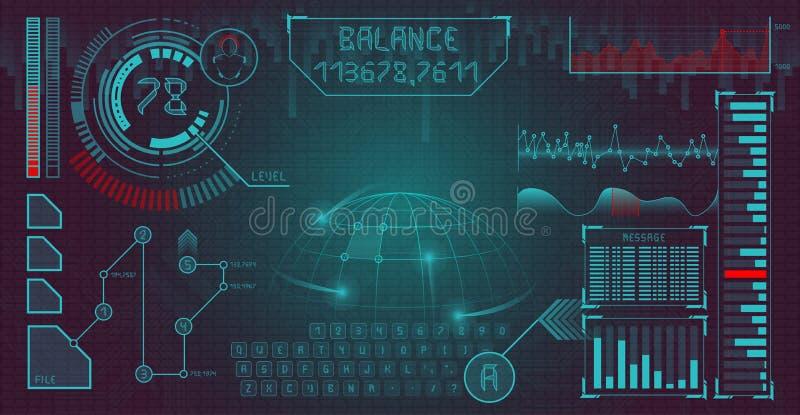 Φουτουριστικό ενδιάμεσο με τον χρήστη με τα στοιχεία infographics και τη μοναδική πηγή διαστημική επίδειξη Διανυσματική ανασκόπησ απεικόνιση αποθεμάτων
