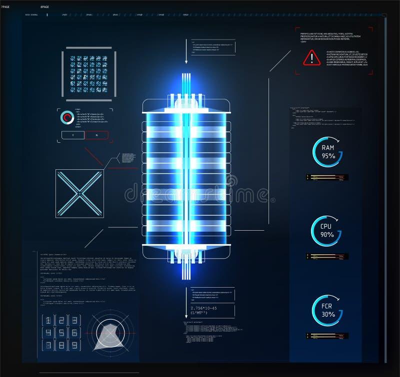 Φουτουριστικό ενδιάμεσο με τον χρήστη Hud και στοιχεία Infographic Αφηρημένο εικονικό γραφικό ενδιάμεσο με τον χρήστη αφής διανυσματική απεικόνιση