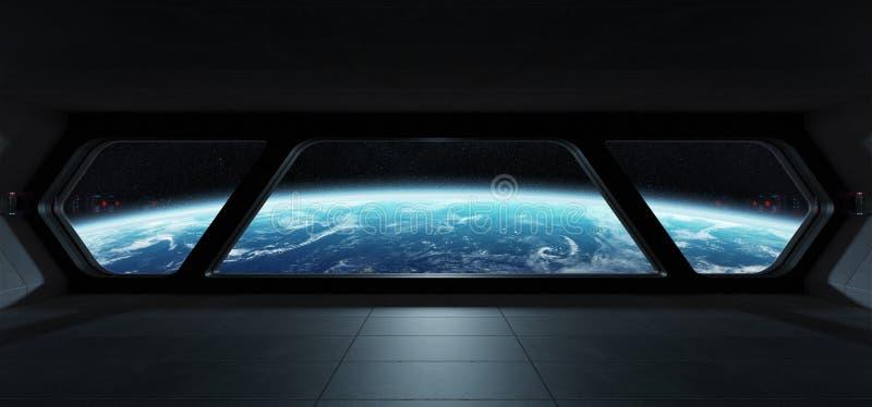 Φουτουριστικό εσωτερικό διαστημοπλοίων με την άποψη σχετικά με το πλανήτη Γη ελεύθερη απεικόνιση δικαιώματος