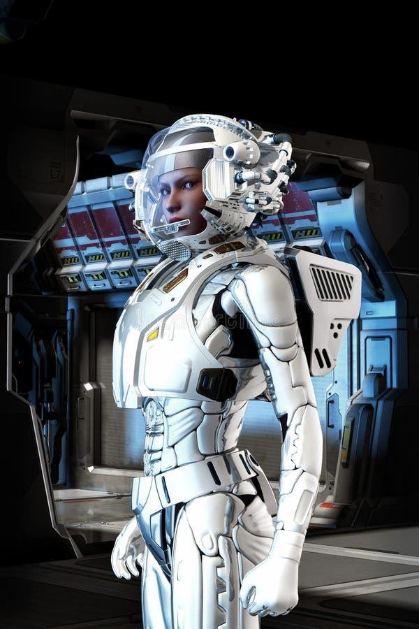 Φουτουριστικό κορίτσι αστροναυτών στο διαστημικό κοστούμι ελεύθερη απεικόνιση δικαιώματος