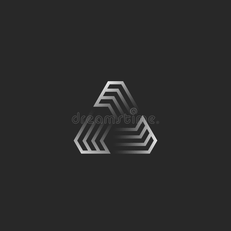 Φουτουριστικό λογότυπο μορφής τριγώνων, δημιουργική κατασκευή πλαισίων κλίσης γεωμετρική για το έμβλημα τυπωμένων υλών μπλουζών,  απεικόνιση αποθεμάτων