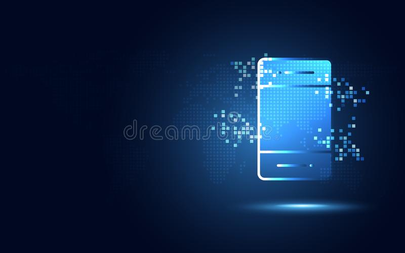 Φουτουριστικό μπλε smartphone με το αφηρημένο υπόβαθρο τεχνολογίας εικονοκυττάρων Ψηφιακός μετασχηματισμός τεχνητής νοημοσύνης κα διανυσματική απεικόνιση