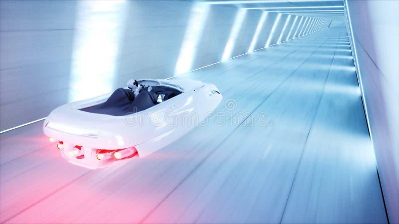 Φουτουριστικό πετώντας αυτοκίνητο με τη γρήγορη οδήγηση γυναικών sci στη σήραγγα FI, coridor Έννοια του μέλλοντος τρισδιάστατη απ απεικόνιση αποθεμάτων