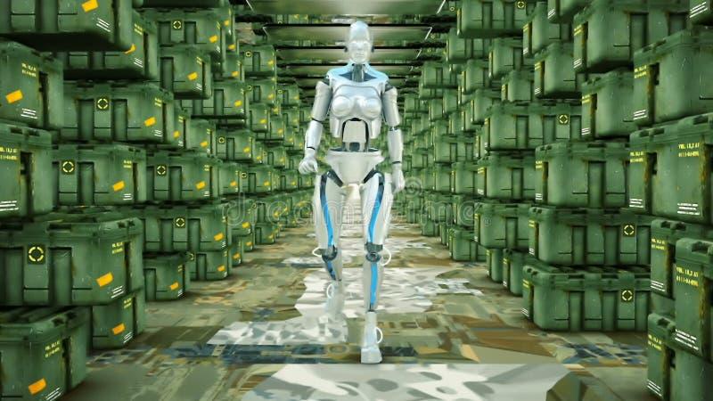 Φουτουριστικό ρομπότ humanoid που περπατά σε μια στρατιωτική αποθήκη εμπορευμάτων ελεύθερη απεικόνιση δικαιώματος