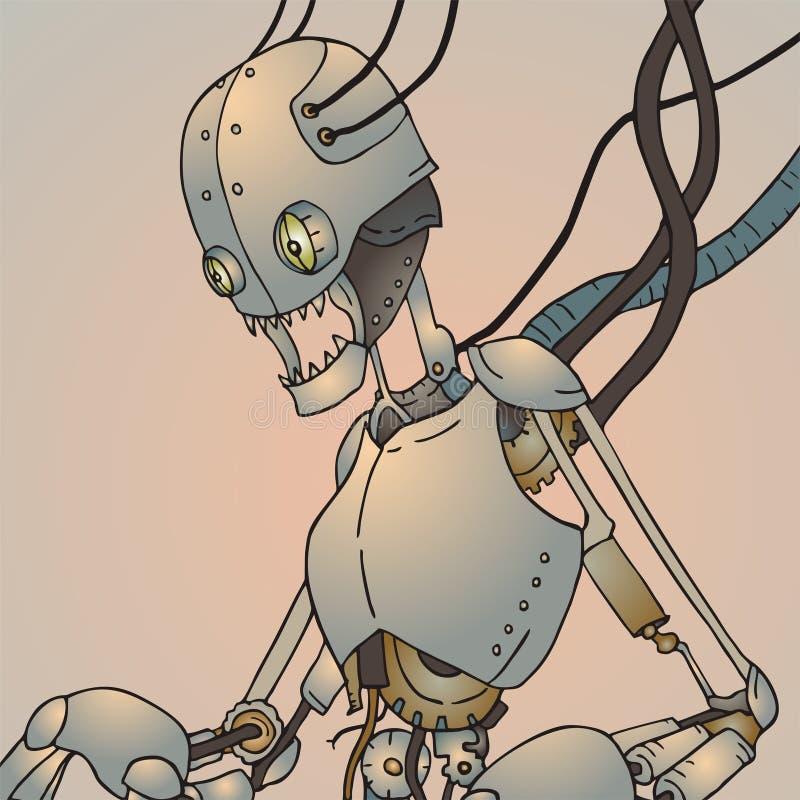 Φουτουριστικό σπασμένο ρομπότ ελεύθερη απεικόνιση δικαιώματος