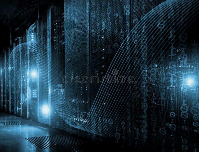 Φουτουριστικό σύγχρονο δωμάτιο κεντρικών υπολογιστών στο κέντρο δεδομένων διανυσματική απεικόνιση