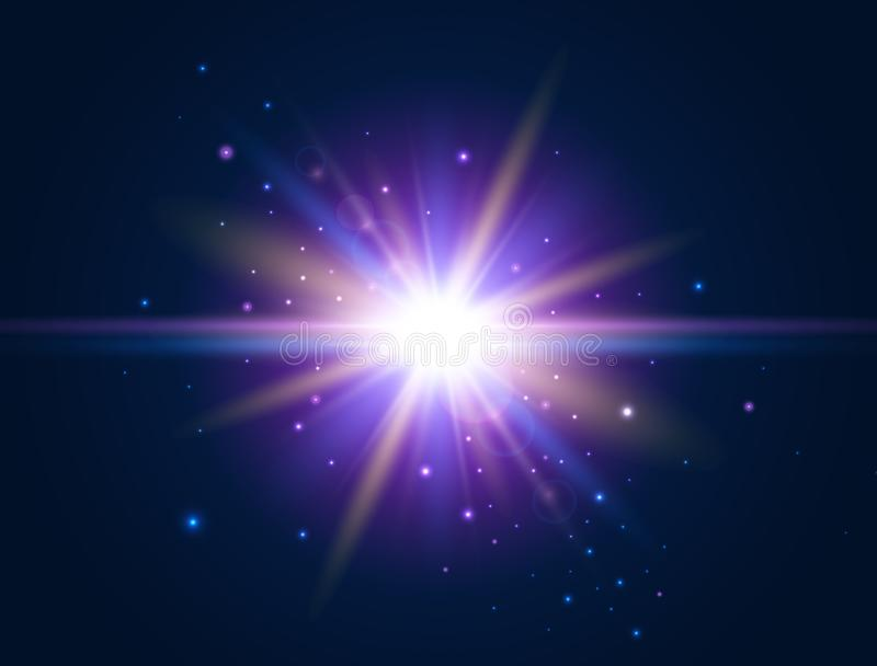 Φουτουριστικό φως Επίδραση πυράκτωσης Ζωηρόχρωμη φλόγα φακών Ελαφρύ σχέδιο έντονου φωτός αστέρι έκρηξης επίσης corel σύρετε το δι ελεύθερη απεικόνιση δικαιώματος