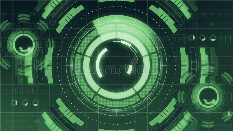Φουτουριστικό ψηφιακό ενδιάμεσο με τον χρήστη τεχνολογίας HUD, οθόνη ραντάρ με τη διάφορη επιχειρησιακή επικοινωνία στοιχείων τεχ απεικόνιση αποθεμάτων