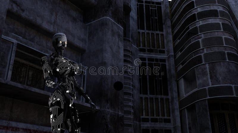 Φουτουριστικό Cyborg στο σκοτεινό δωμάτιο διανυσματική απεικόνιση