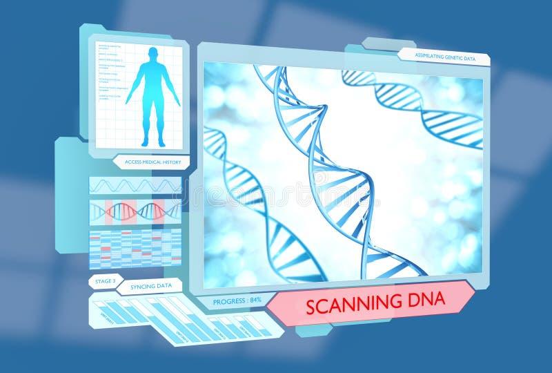 Φουτουριστικό DNA που ανιχνεύει την ιατρική διαδικασία για την υγεία διανυσματική απεικόνιση