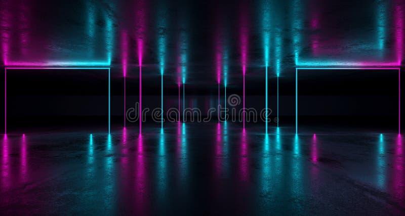Φουτουριστικό Grunge δωμάτιο του Sci Fi με τα πορφυρά και μπλε φω'τα W νέου ελεύθερη απεικόνιση δικαιώματος