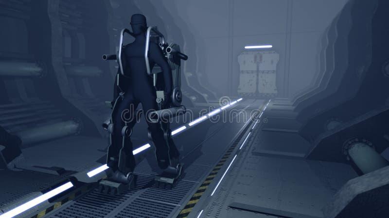 Φουτουριστικό mech που περπατά μέσω ενός υπόστεγου sci-Fi στοκ εικόνα