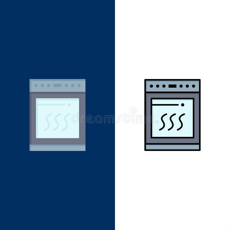 Φούρνος, κουζίνα, μικρόκυμα, μαγειρεύοντας εικονίδια Επίπεδος και γραμμή γέμισε το καθορισμένο διανυσματικό μπλε υπόβαθρο εικονιδ απεικόνιση αποθεμάτων