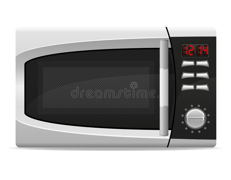 Φούρνος μικροκυμάτων με το ηλεκτρονικά ελεγχόμενο διανυσματικό illustratio απεικόνιση αποθεμάτων