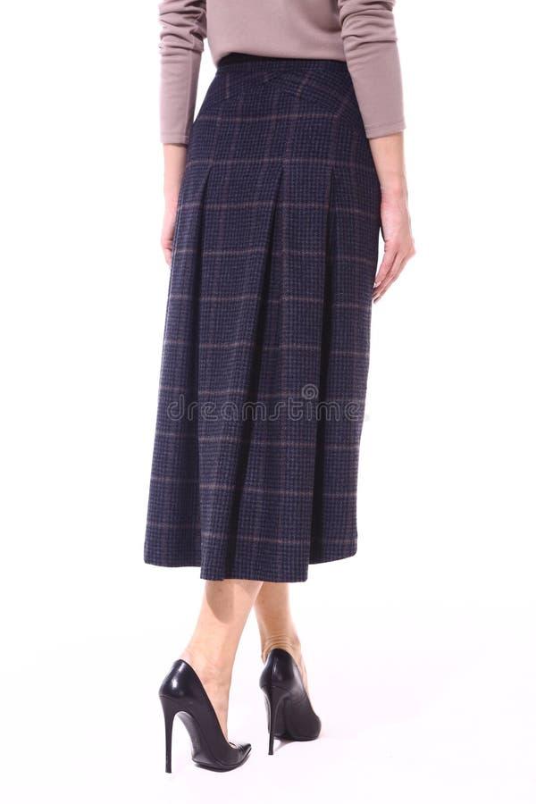Φούστα πρότυπο σε ελεγμένο με τα υψηλά παπούτσια στιλέτων τακουνιών στοκ εικόνα