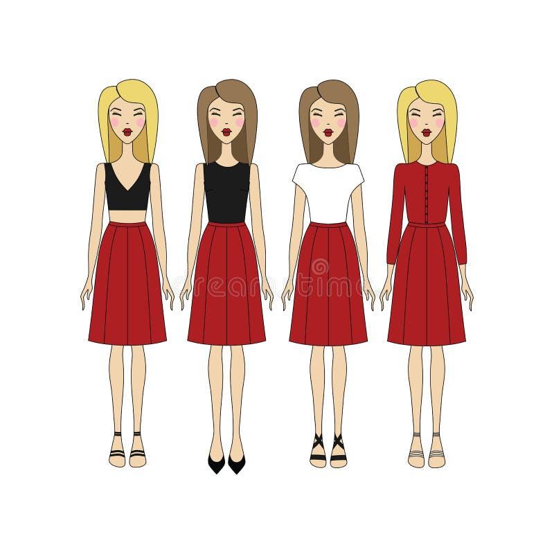 φούστα blowgun κορυφή Παπούτσια Σανδάλια Ξανθός Φωτεινά χείλια κορίτσι μέσα απεικόνιση αποθεμάτων