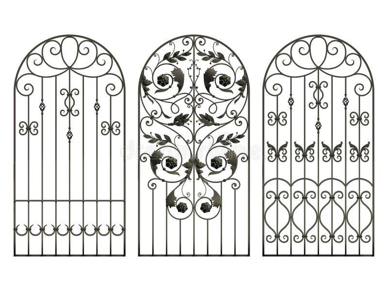 Φράκτες σιδήρου με τα λουλούδια και τα φύλλα διανυσματική απεικόνιση