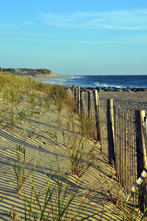 Φράκτης παραλιών κατά μήκος των αμμόλοφων στοκ φωτογραφίες