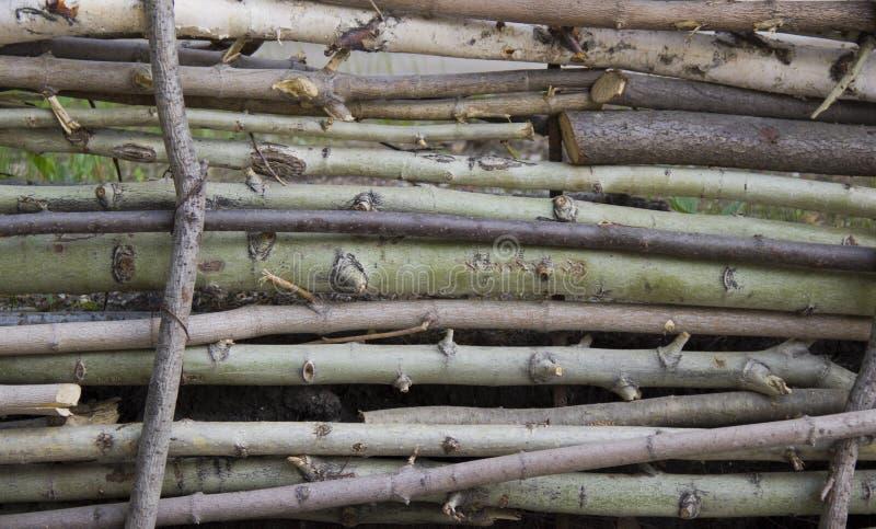 Φράκτης φιαγμένος από λεπτές ξύλινες ράβδους στο φυσικό φως στοκ εικόνες με δικαίωμα ελεύθερης χρήσης