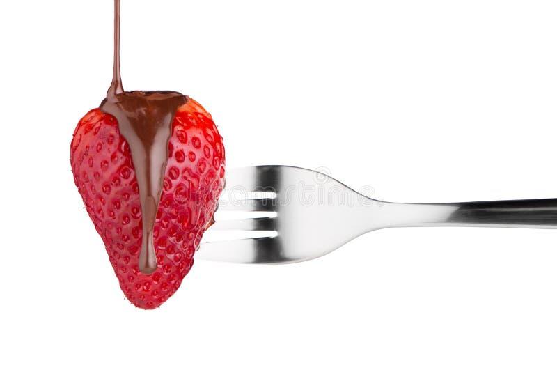 Φράουλα και σοκολάτα σε ένα δίκρανο στοκ εικόνες με δικαίωμα ελεύθερης χρήσης