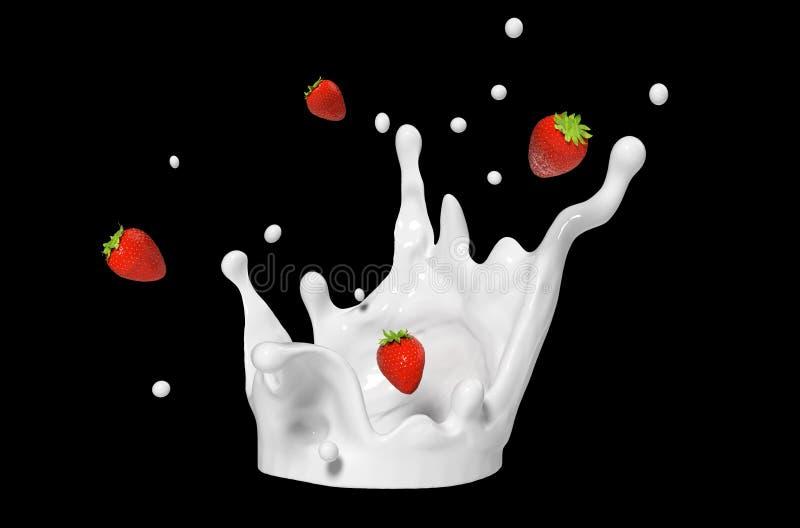 Φράουλες και παφλασμός γάλακτος που απομονώνεται στο μαύρο υπόβαθρο διανυσματική απεικόνιση