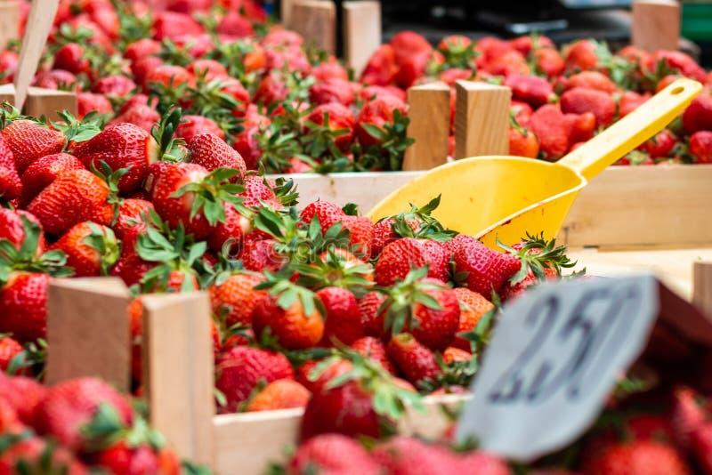 Φράουλες στην αγορά στοκ φωτογραφία με δικαίωμα ελεύθερης χρήσης
