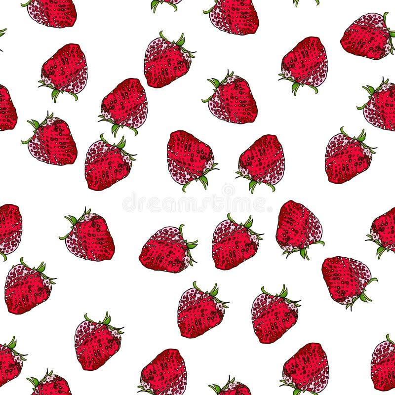 Φράουλες χωρίς ραφή σε λευκό φόντο ελεύθερη απεικόνιση δικαιώματος