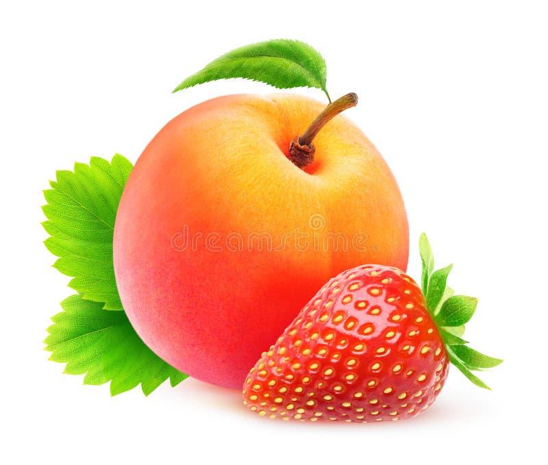 Φράουλα και ροδάκινο στοκ εικόνα