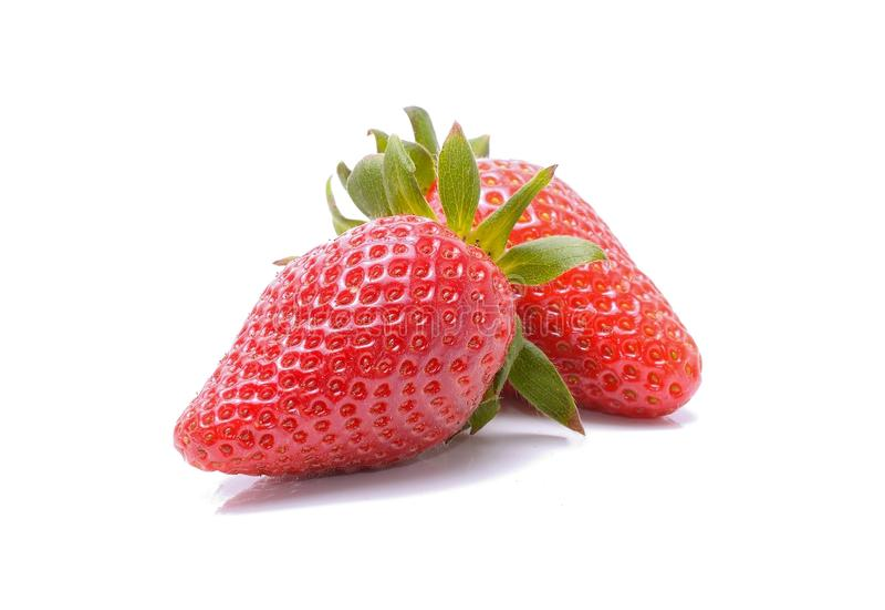 Φράουλες που απομονώνονται στην άσπρη ανασκόπηση στοκ φωτογραφία με δικαίωμα ελεύθερης χρήσης