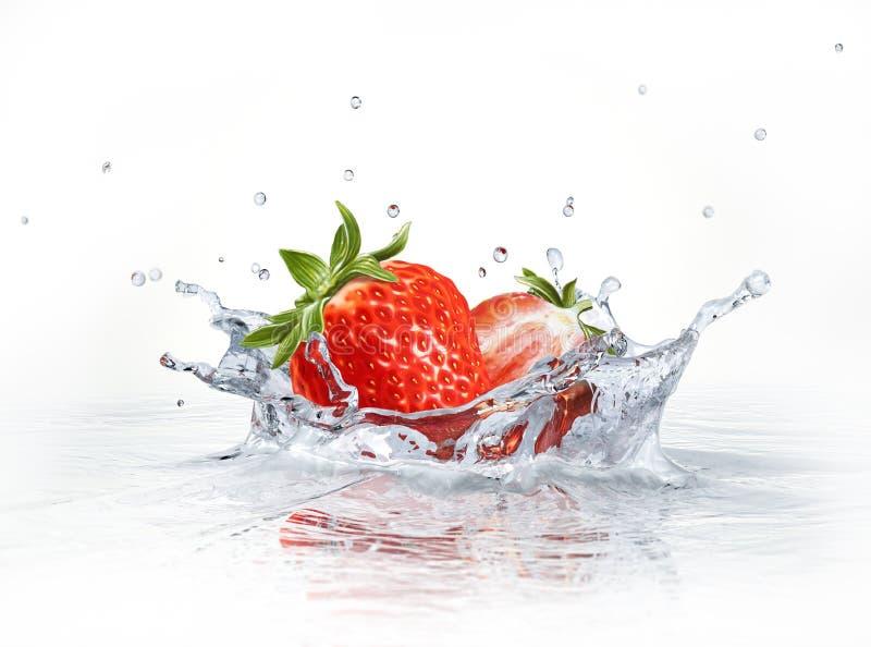 Φράουλες που περιέρχονται στο σαφές νερό, που διαμορφώνει έναν παφλασμό κορωνών. διανυσματική απεικόνιση