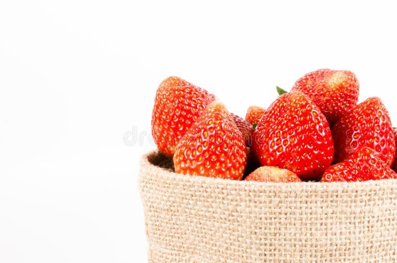 Φράουλες στην τσάντα σάκων που απομονώνεται στο άσπρο υπόβαθρο στοκ φωτογραφίες