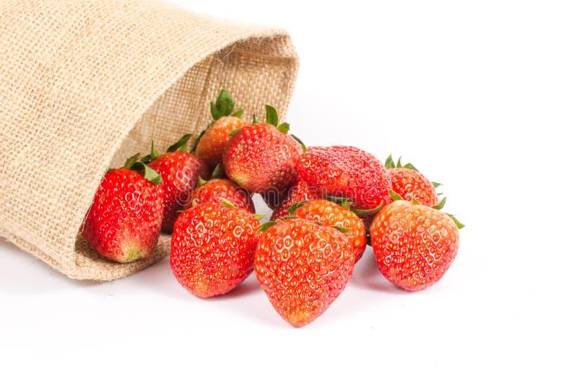 Φράουλες στην τσάντα σάκων στοκ φωτογραφία με δικαίωμα ελεύθερης χρήσης