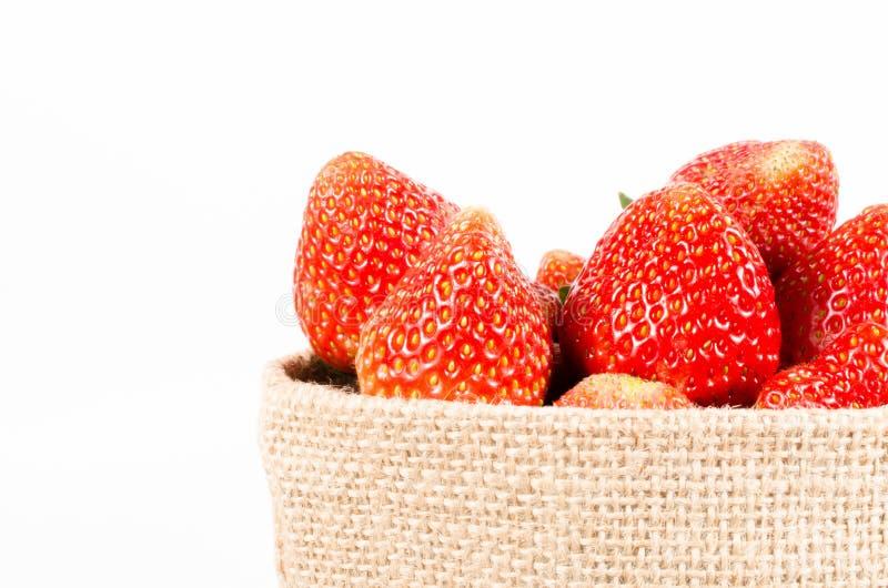 Φράουλες στην τσάντα σάκων στοκ εικόνες