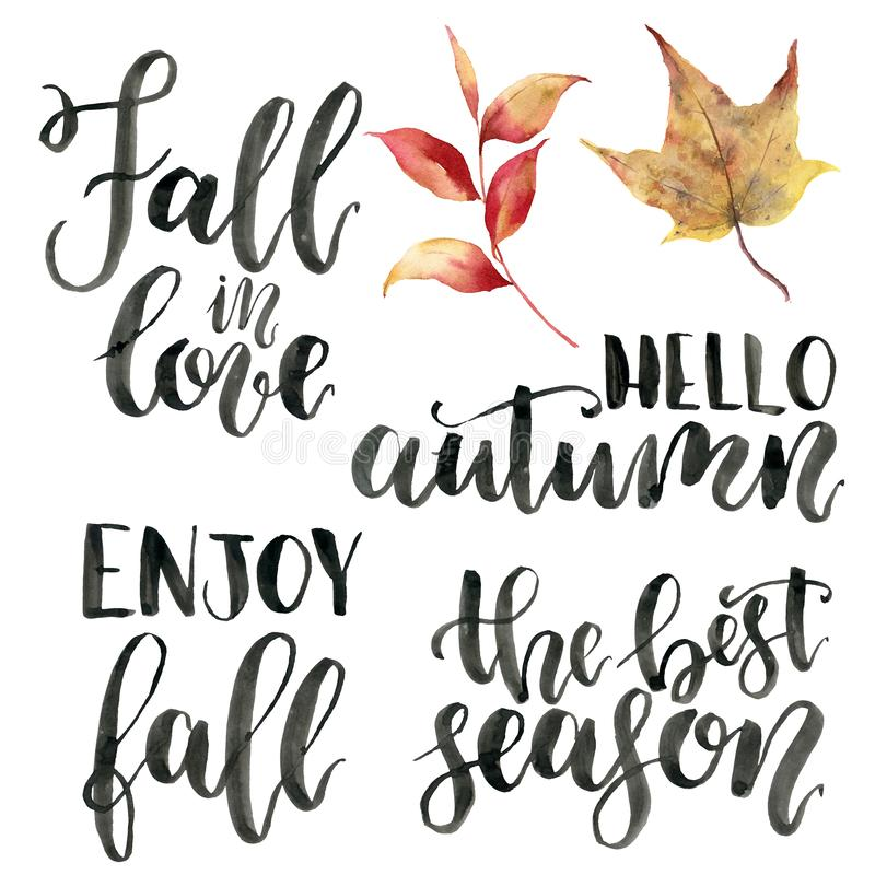 Φράσεις εγγραφής φθινοπώρου Watercolor Χρωματισμένο χέρι σύνολο calygraphy Η πτώση ερωτευμένη, γειά σου φθινόπωρο, απολαμβάνει τη διανυσματική απεικόνιση