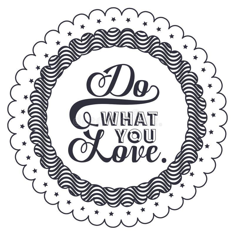 Φράση τοποθέτησης για την αγάπη μέσα στο σχέδιο πλαισίων απεικόνιση αποθεμάτων