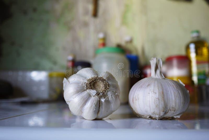 Φρέσκα ακατέργαστα συστατικά, σκόρδο, κόκκινες κρεμμύδι και πιπερόριζα στην κουζίνα στοκ εικόνες με δικαίωμα ελεύθερης χρήσης