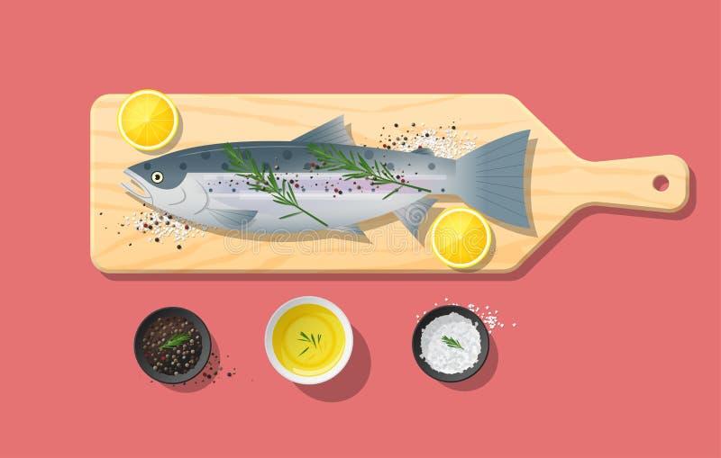 Φρέσκα ακατέργαστα ψάρια και καρυκεύματα σολομών στον ξύλινο τέμνοντα πίνακα, προετοιμασία τροφίμων απεικόνιση αποθεμάτων