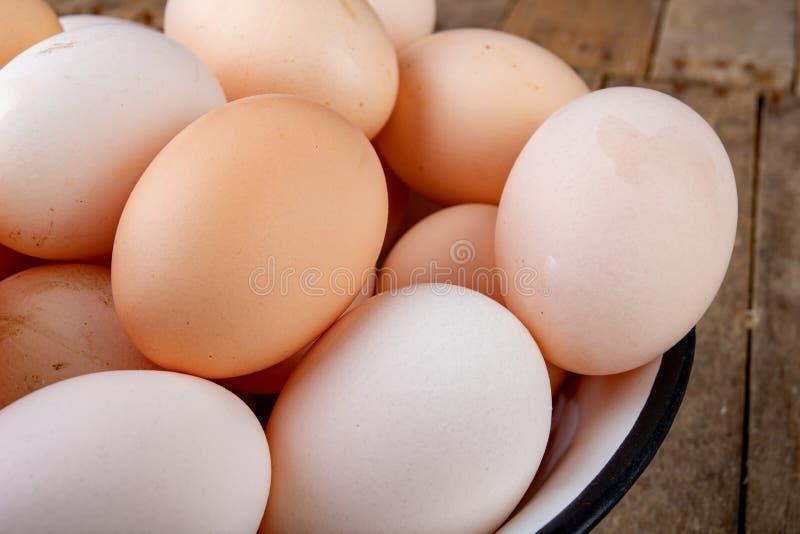 Φρέσκα αυγά κοτών σε ένα κύπελλο σμάλτων μετάλλων αυγά που παρουσιάζονται από ένα σπίτι κοτών σε έναν ξύλινο πίνακα στοκ φωτογραφίες με δικαίωμα ελεύθερης χρήσης