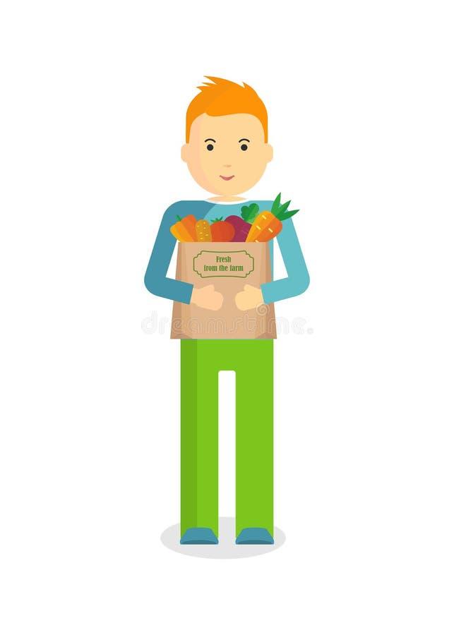 φρέσκα λαχανικά ατόμων διανυσματική απεικόνιση