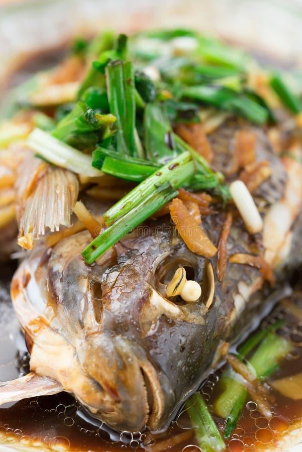 Φρέσκα βρασμένα στον ατμό ολόκληρα ψάρια που καλύπτονται με τα κρεμμύδια και τη σάλτσα χορταριών στοκ εικόνες